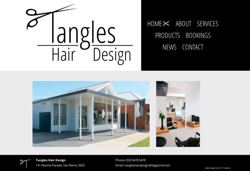 Tangles Hair Design Website Screenshot