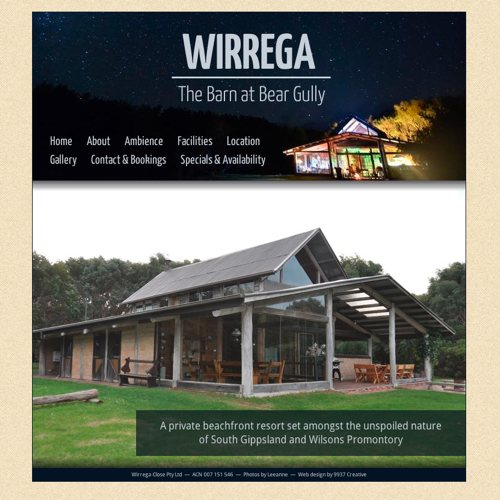 Wirrega - The Barn at Bear Gully website screenshot